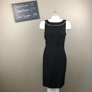 Ann Taylor Black White Dress Career Pencil 10 LOFT